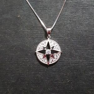 Jewelry - New 14k White Gold On 925 Compass Pendant Charm
